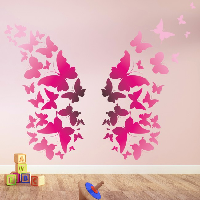 Wallpaper For Girls Room Uk Bright Pink Butterfly Wings Animals Colour Wall Stickers