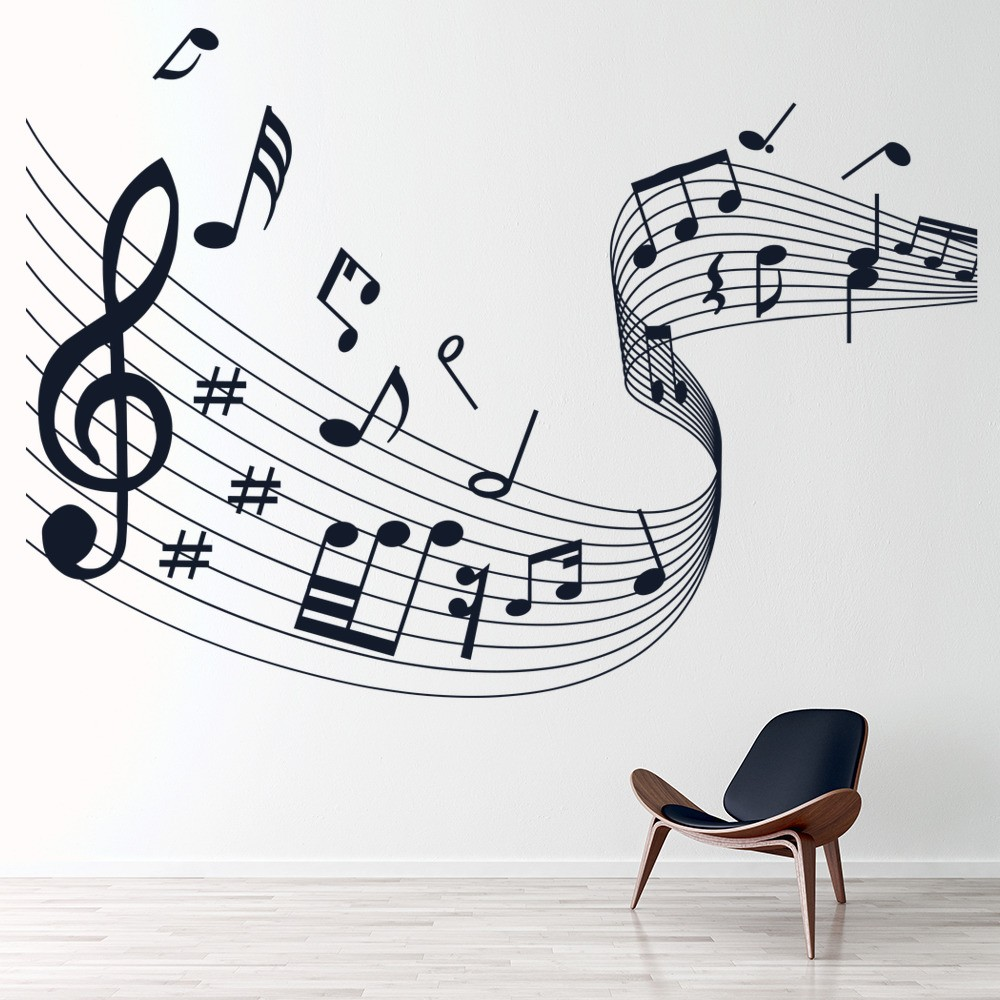 Wallpaper Ideas For Baby Girl Nursery Musical Note Score Wall Stickers Music Wall Art