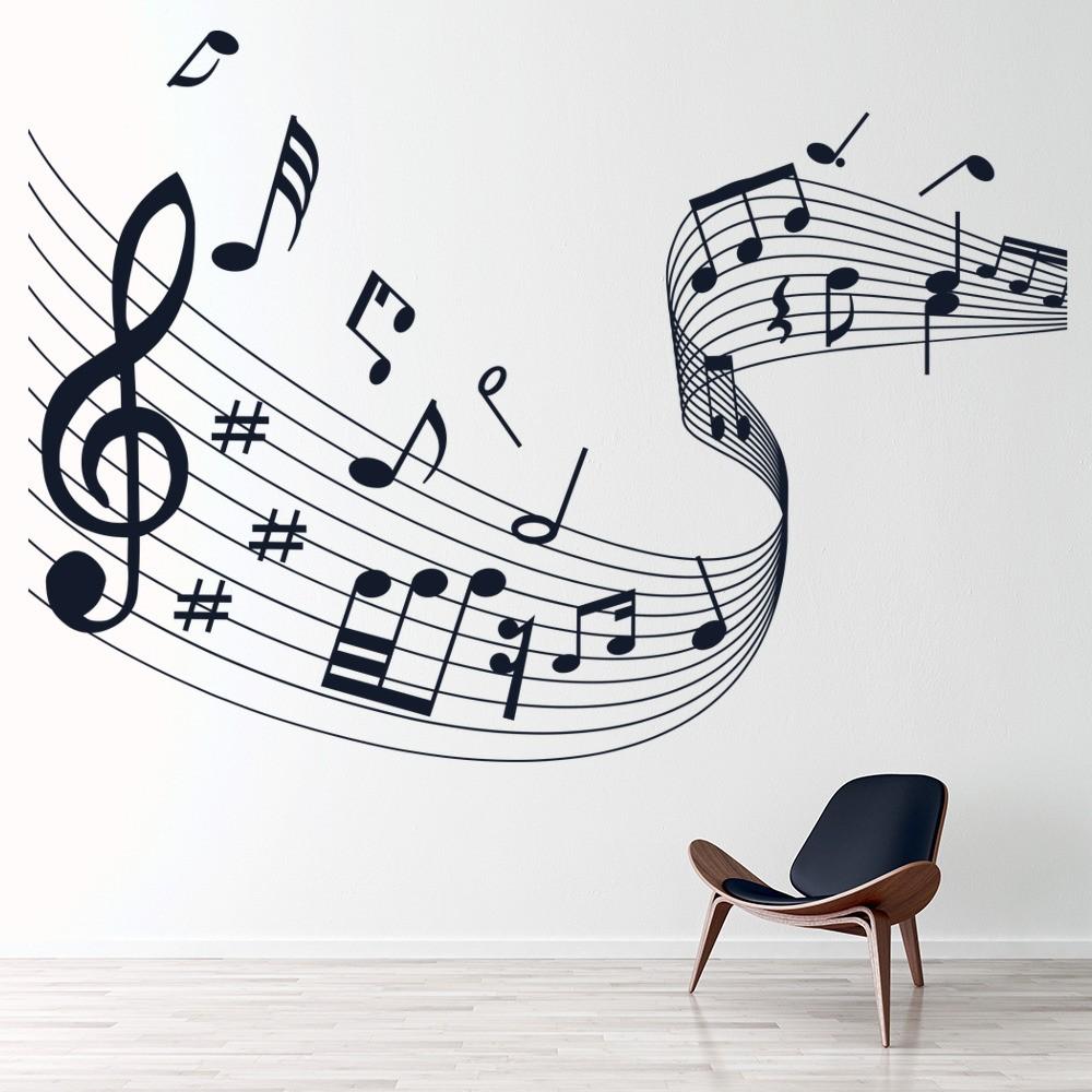 3d Baby Girl Wallpaper Musical Note Score Wall Stickers Music Wall Art