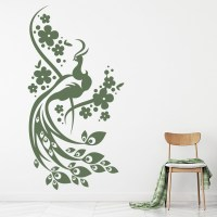Floral Peacock Wall Sticker Bird Wall Art