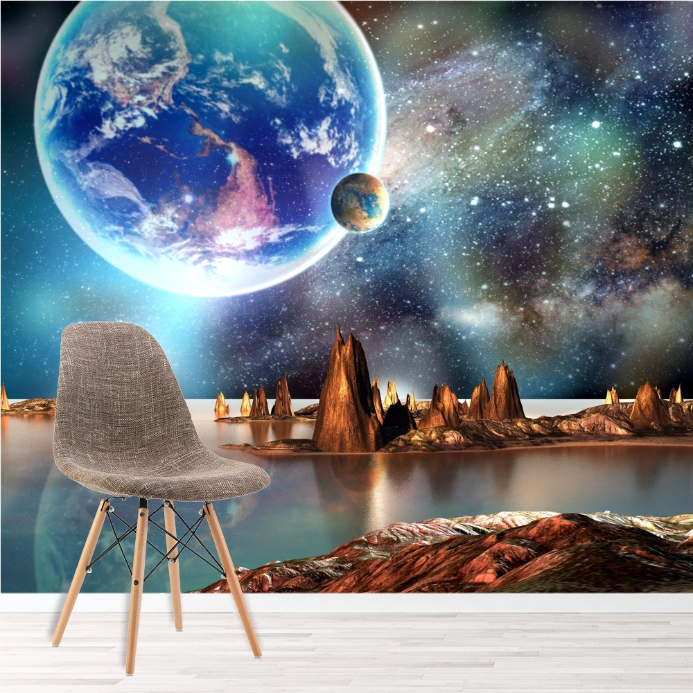 Wallpaper Ideas For Baby Girl Nursery Alien Landscape Wall Mural Planets Space Photo Wallpaper