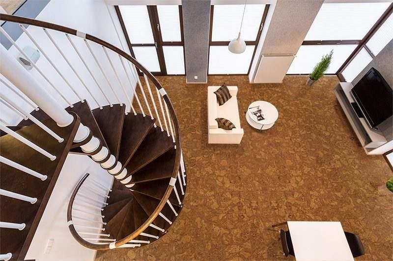 Autumn Ripple Beveled Cork Floor Curve Wooden Stairs