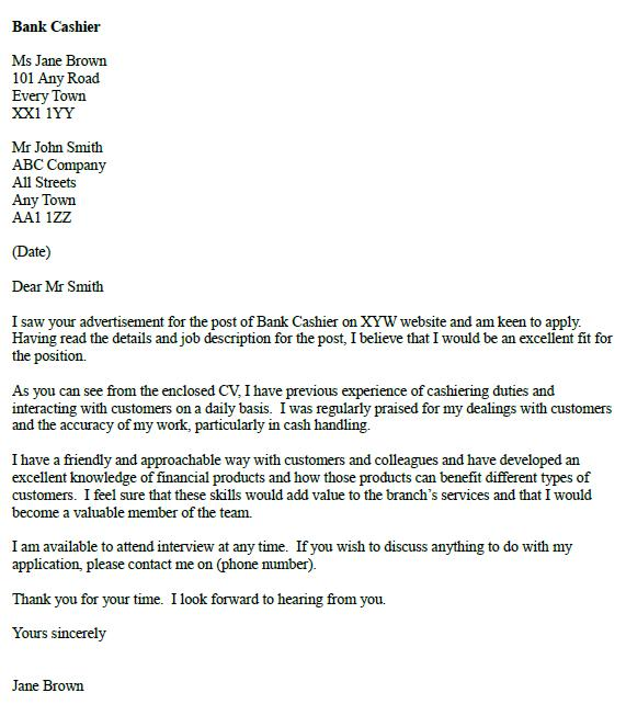 Bank Cashier Cover Letter Example - icoverorguk
