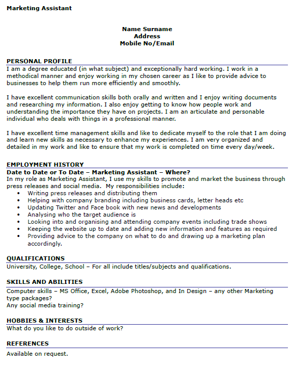 marketing assistant cv template uk
