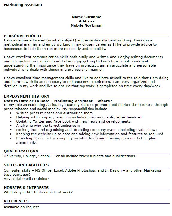 marketing assistant cv template uk