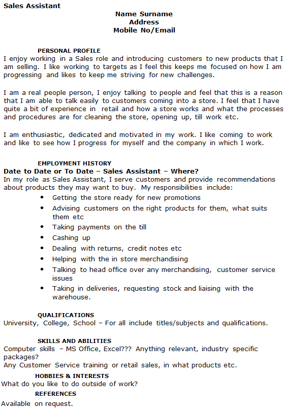 shop assistant cv example