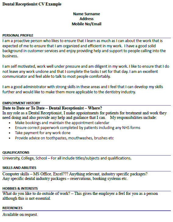 resume examples dental receptionist