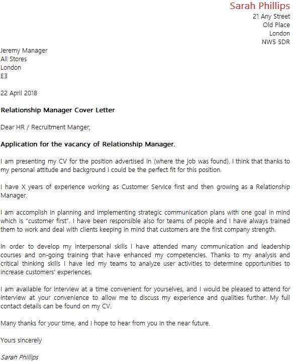 resume format for relationship manager
