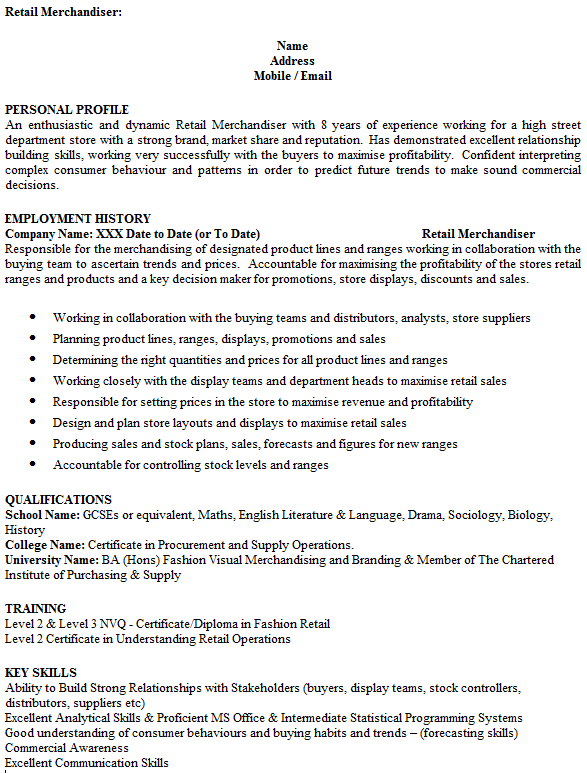 resume sample visual merchandiser - Job Description For Merchandiser