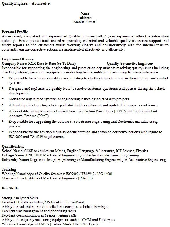 resume examples quality engineer