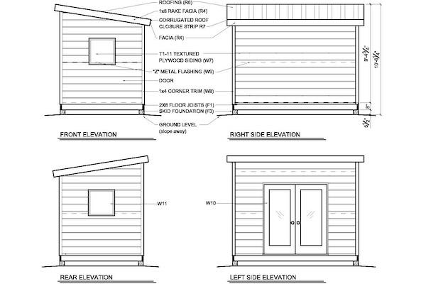8x12M1-elevationsjpg (600×400) Tiny House Pinterest