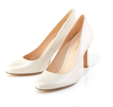 White Satin Pumps With Removable Accessories Benir