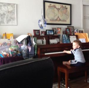 Idan playing at his grandparents.