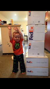 Idan in March 2014 packing our shipping boxes