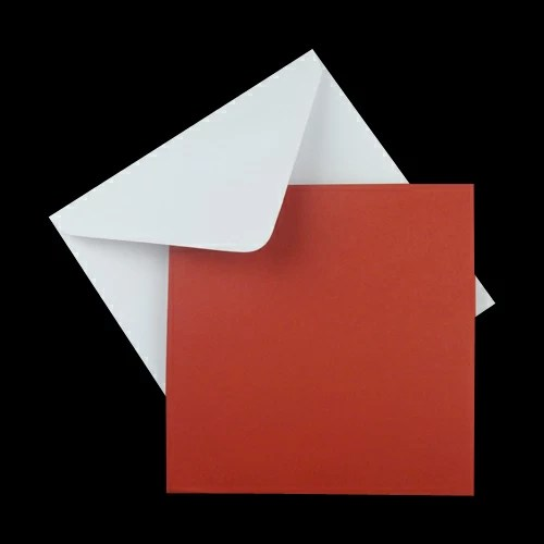 25 X 160mm SQUARE XMAS RED CARD BLANK WITH FREE WHITE ENVELOPES