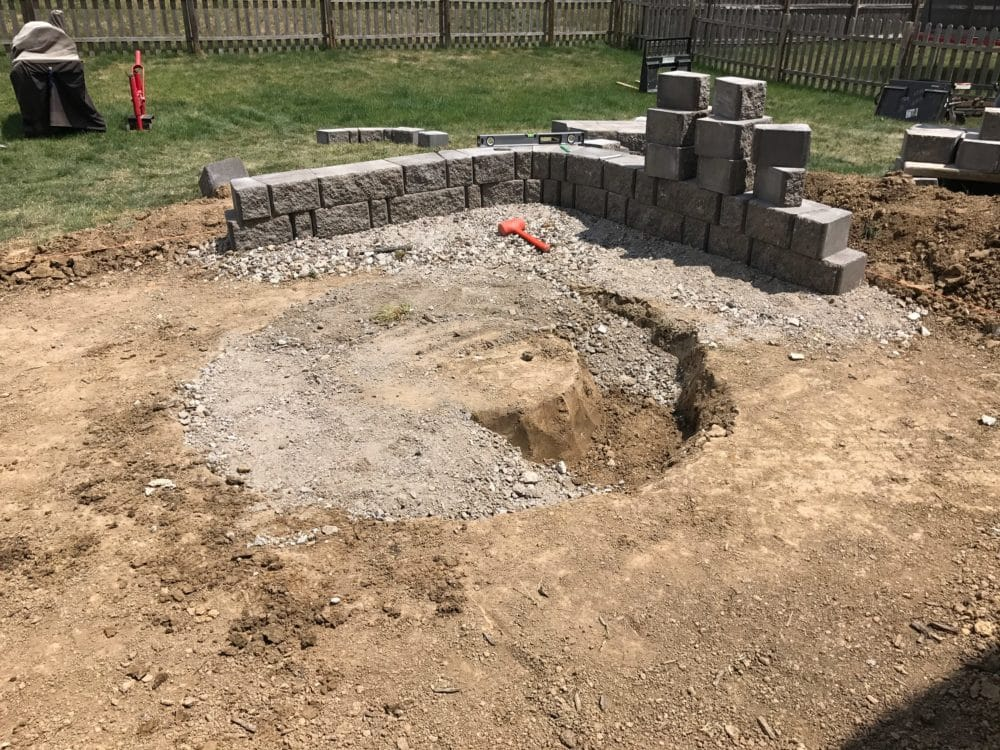 Stamped Colored Concrete Patio Fire Pit Sitting Wall