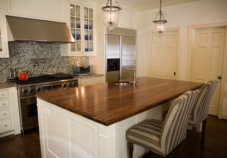 Natural Design Ideas for Wooden Kitchen Countertops near Chic Chair under Pednant Lamp