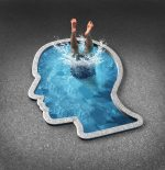 Deep thinking and soul searching concept with a person diving into a swimming pool shaped as a human face as a symbol of self examination and mental health issues related to inner feelings and emotions.