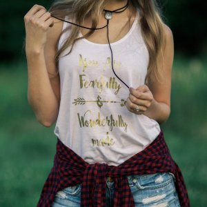 "Christian Graphic Tank – ""Fearfully & Wonderfully Made"""