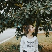 Christian Graphic Sweater – Strength & Dignity in Wheat