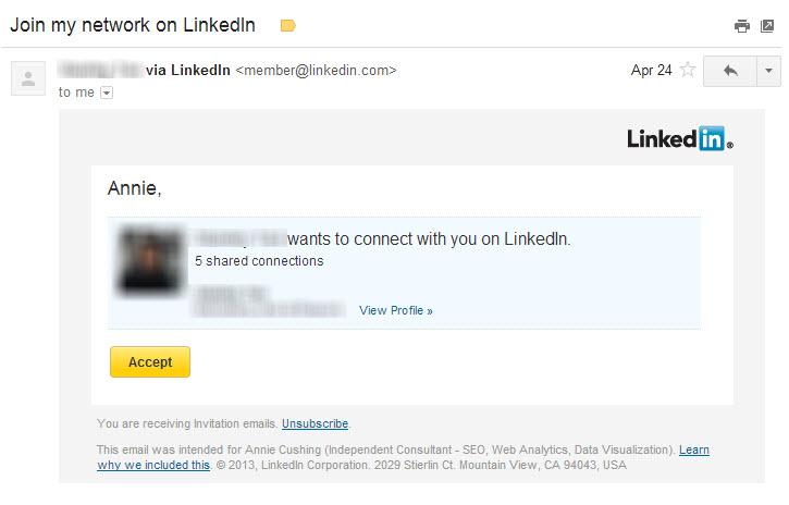 LinkedIn Spam Invitation to Connect