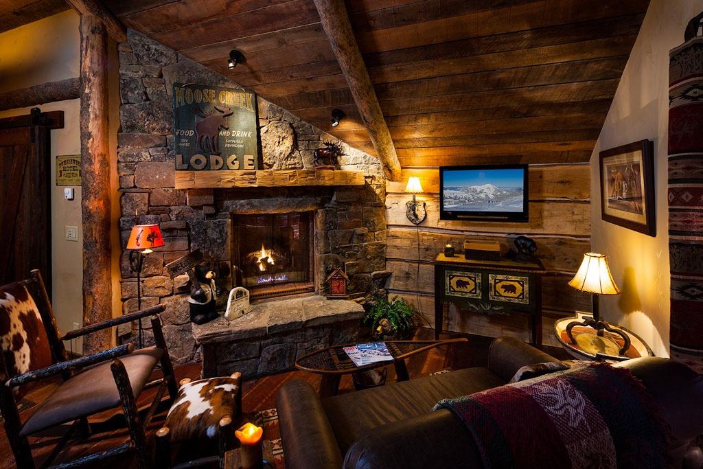 Old West Inspired Luxury Rustic Log Cabin In Big Sky Montana - log cabin living rooms