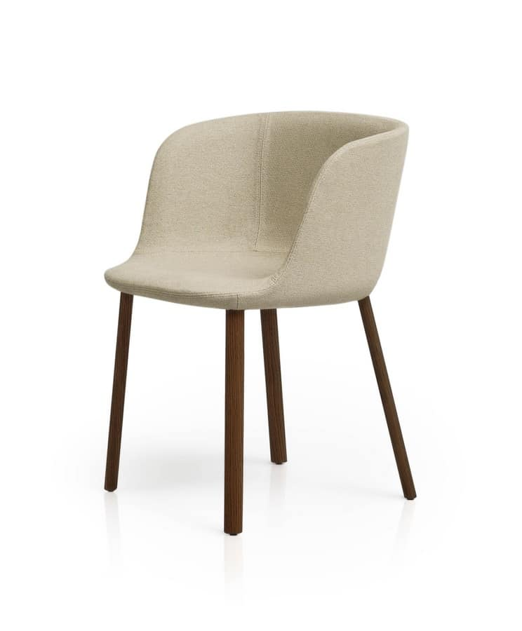Padded small armchair with wooden legs, in various