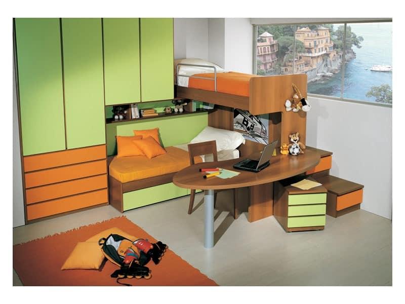 Kid Schlafzimmer mit Doppelbett, im Etagenstruktur enthalten - ideale schreibtisch im kinderzimmer