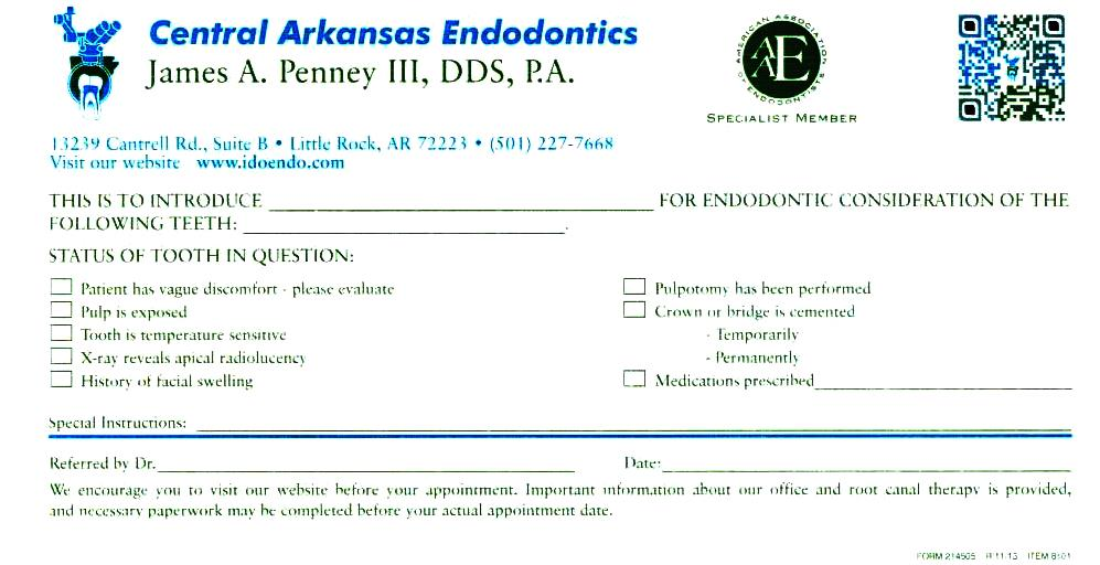 Referring Form Little Rock AR - office referral form