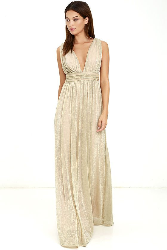If you're in the market for something with a bit of sparkle, this golden maxi could fit right in.