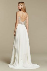 Here's a contemporary, chiffon design that we're loving, especially with that posh, honeycomb bodice and  dipping back.