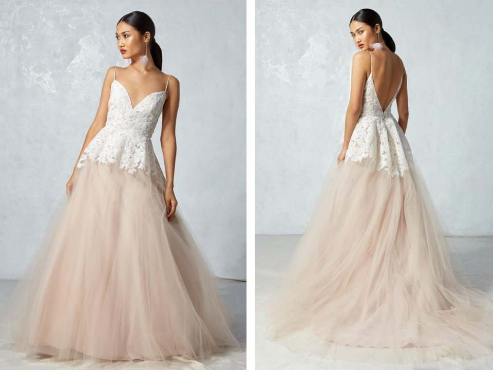 Finally, we leave you with a gorgeous blush ball gown that will light up the aisle, and that lace finish is stunning!