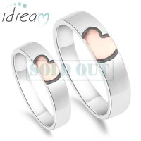 Rose Gold / Pink + Black Heart Couple Rings Set for Women ...