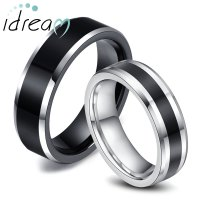 Two-Tone Tungsten Wedding Bands Set for Women & Men, White ...