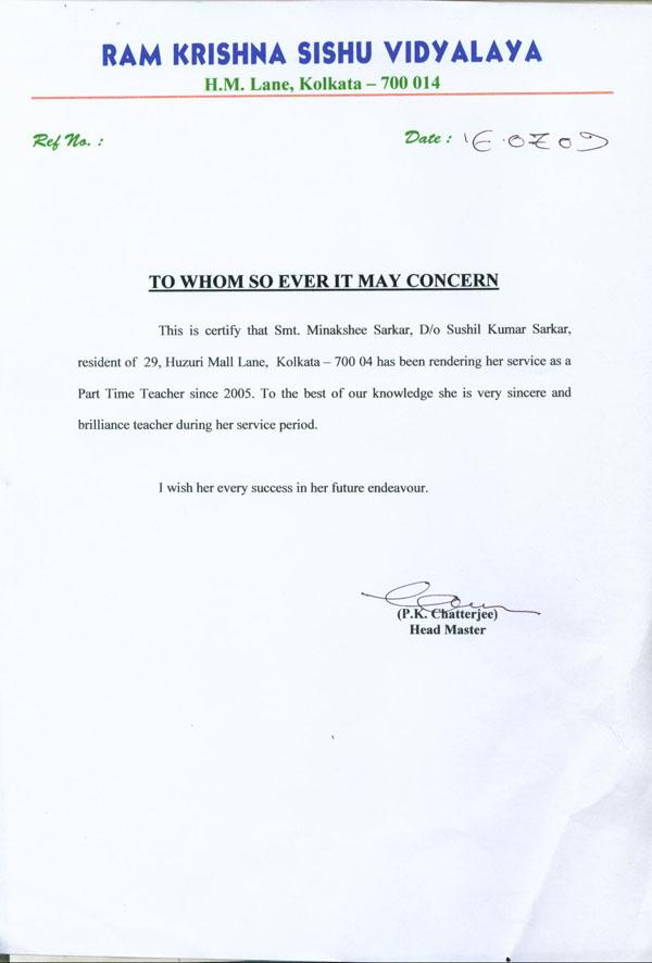 experience letter for a teacher - Ozilalmanoof
