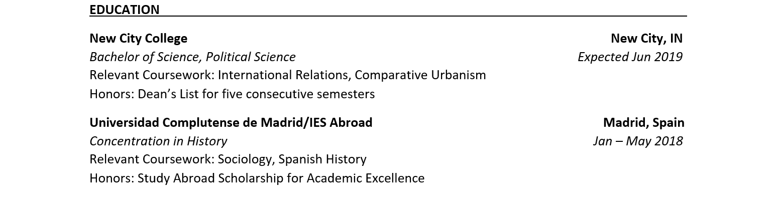 sample resume for studying abroad