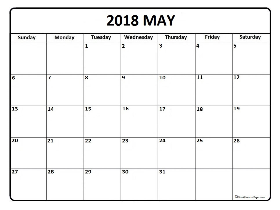 May 2018 Calendar Template Word, PDF, Excel Format - calendar template for word