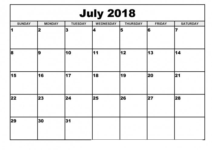 Blank Monthly Calendar July 2018