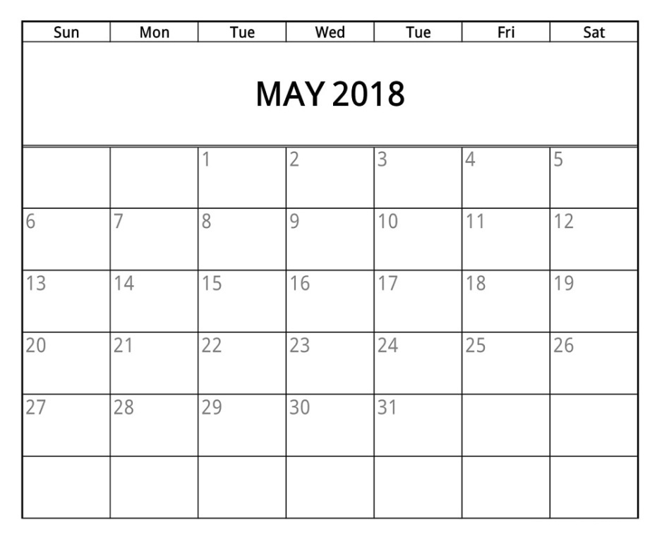 Calendar May 2018 Excel Printable Template Free Download