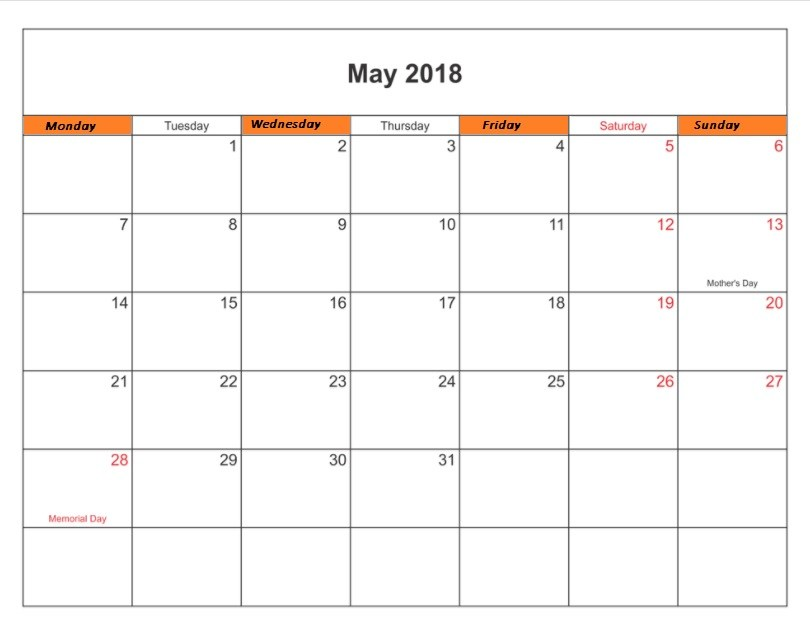 May 2018 Calendar With Holidays in USA UK Canada India