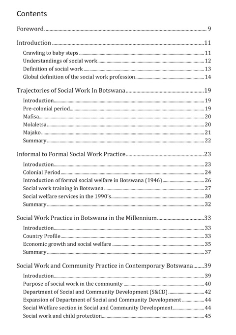 Foretelling the History of Social Work A Botswana Perspective - social work practice