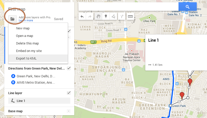 Create save export and download kml file from google map Create a map online free