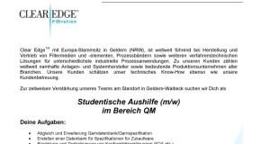 Clear Edge sucht: Studentische Aushilfe (m/w) im Bereich QM