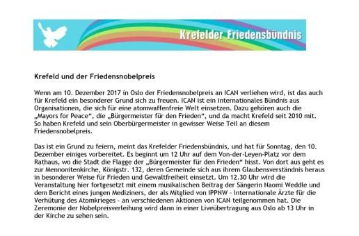 Krefeld und der Friedensnobelpreis