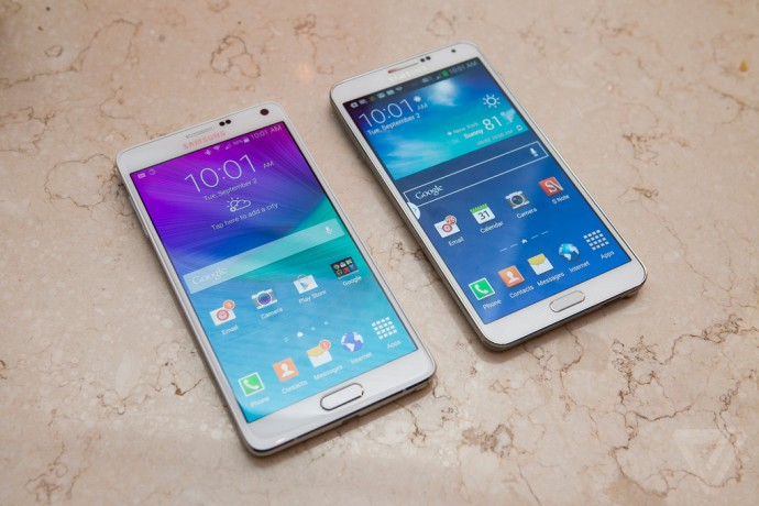 The device is sleeker and edgier than the Note 3. Image Credit: The Verge