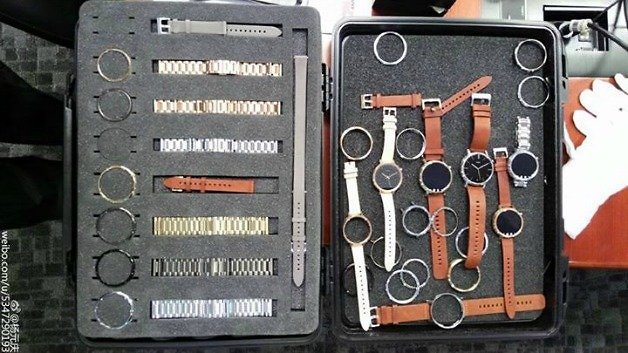 A travel case showing components of a round watch with multiple straps.