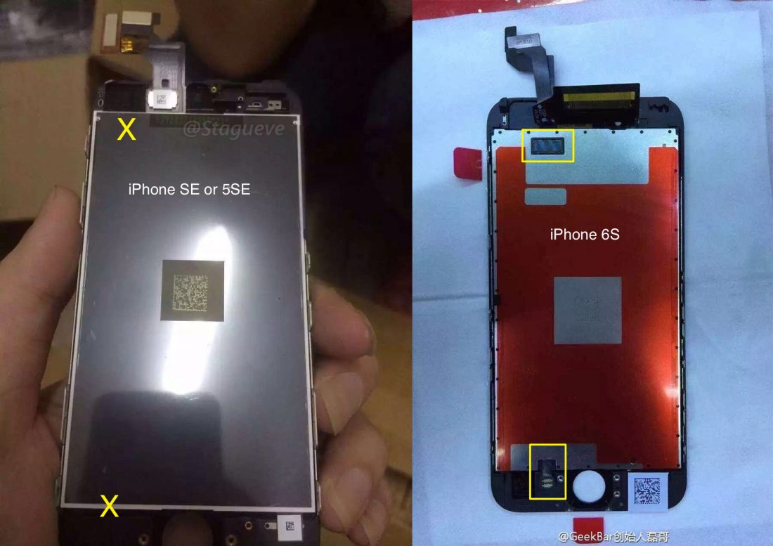 Alleged iPhone SE next to iPhone 6s