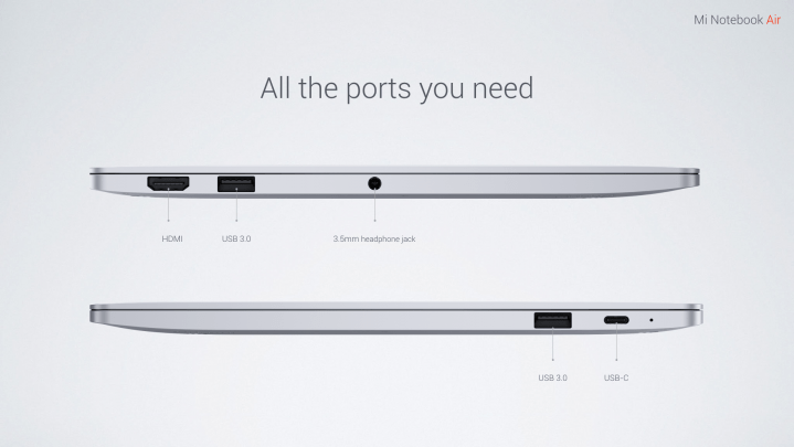 Mi Notebook Air Ports