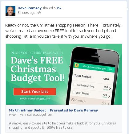 Dave Ramsey Christmas Budget - iHeartBudgets