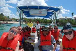 Boat ride to Isla Saona with life jackets on